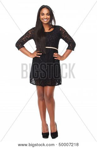 Portrit Of A Beautiful Woman In Black Dress Smiling
