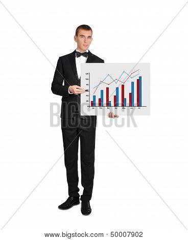 Man In Tuxedo Holding Poster