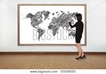 Woman Drawing Worl Map