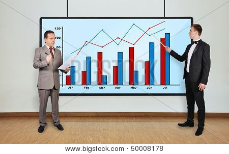 Two Businessman And Graphic