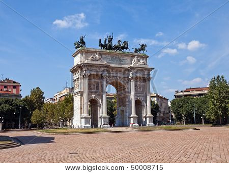 Arc Of Peace ( Xix C.)  In Sempione Park. Milan, Italy
