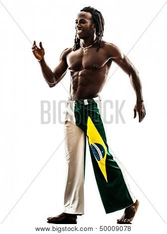 one brazilian  black man walking smiling on white background