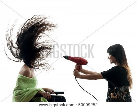 woman and hairdresser  in silhouette  on white background