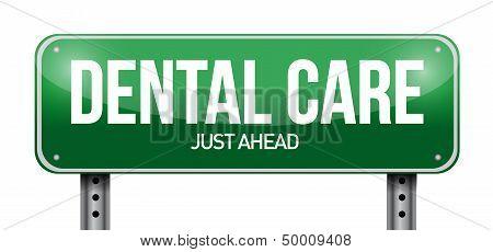 Dental Care Road Sign Illustration