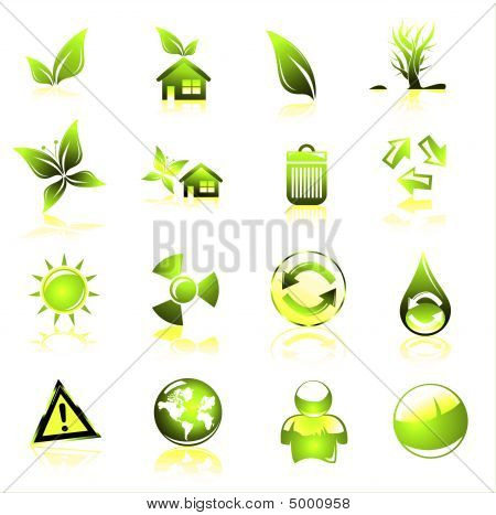 Collection of ecology and environmental icons green poster