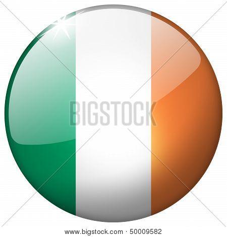 Ireland Round Glass Button