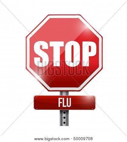 Stop Flu Road Sign Illustration Design