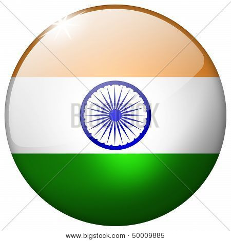 India Round Glass Button