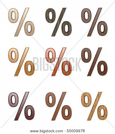 Bussines symbols. 3D wood percentage