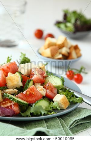 Salad With Meat, Cucumbers, Tomatoes And Croutons