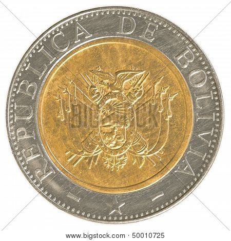 poster of five bolivian bolivianos coin isolaten on white background