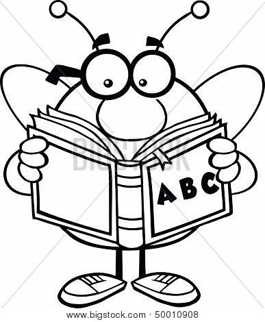 Black And White Pudgy Bee Cartoon Character With Glasses Reading A ABC Book