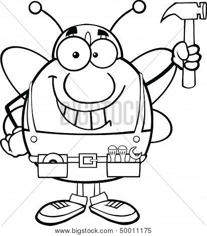 Black And White Pudgy Bee Worker Holding Up A Hammer