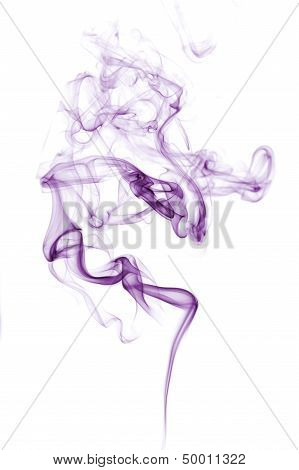 Purple Smoke Isolated On White.