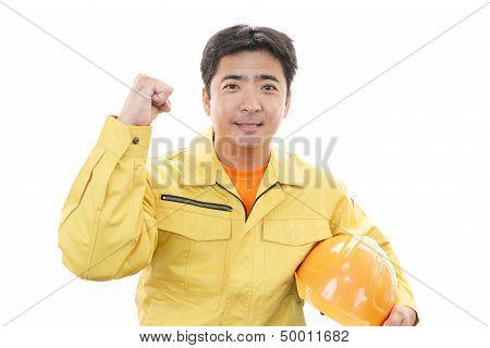 A helmeted man