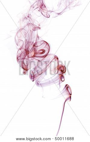 Red And Purple Smoke Isolated On White.