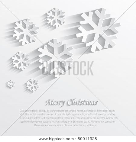 vector christmas snowflake white paper 3D