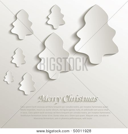 vector christmas tree natural paper 3D
