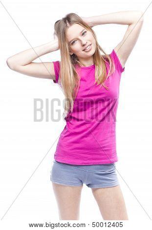 Young beautiful woman wearing pink t-shirt