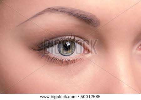 the right eye of a beautiful young woman