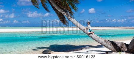 Little boy sitting on a palm at exotic beach