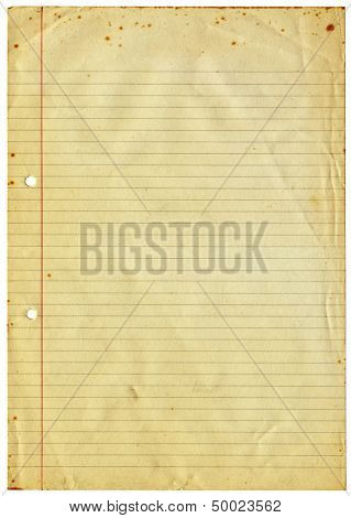 Blank lined vintage A4 paper isolated on white.