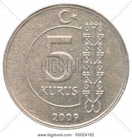5 turkish kurush coin isolated on white background poster