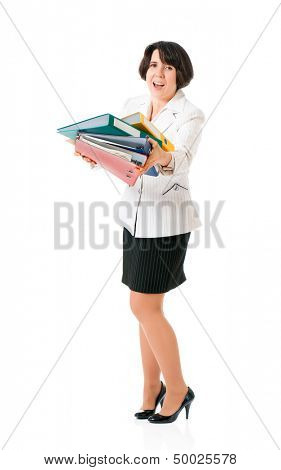 Tired business woman or teacher in suit with folders, isolated white background