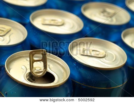 Opened Beer Can.  Shallow Dof, Focus On The Opened Can.