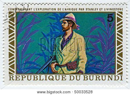BURUNDI - CIRCA 1973: A stamp printed in Burundi shows image of the Henry Morton Stanley meets David Livingstone, circa 1973.