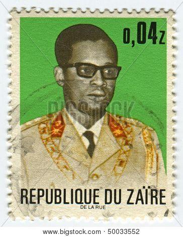 ZAIRE - CIRCA 1972: A stamp printed in Zaire shows image of the Mobutu Sese Seko Kuku Ngbendu wa Za Banga was the President of Republic of the Congo, which Mobutu renamed Zaire, circa 1972.