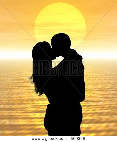 silhouette couple kissing in the sunset poster
