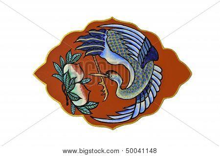 Symbol Of  Chinese Crane Bird On White Background