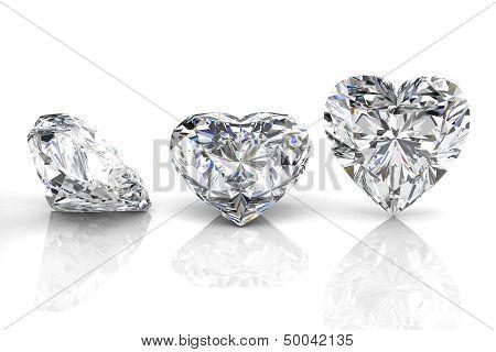 Diamond Jewel On White Background. High Quality 3D Render