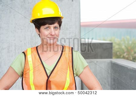 Woman Construction Worker In Hard Hat