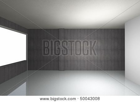 Bare Concrete Wall And Reflecting Floor