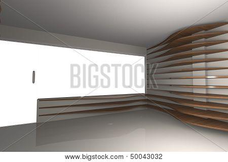 Curve Wood Shelfs In Empty Interior