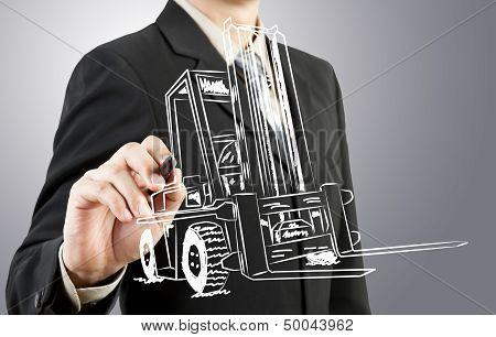 Businessman Drawing Forklift