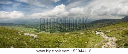 Panoramic view from Cadair Idris looking North towards Dolgellau over fields and countryside landscape poster