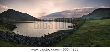 Panorama Mountain And Lake Sunrise Reflections Beautiful Landscape