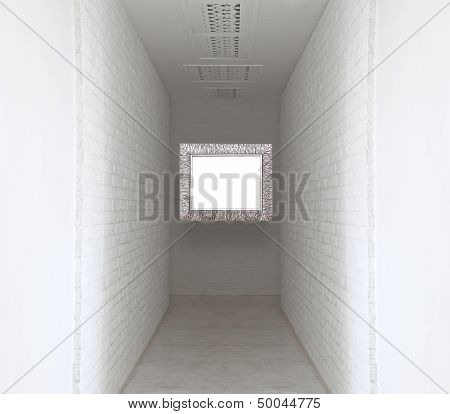 Picture Flame On White Brick Wall And Walk Way