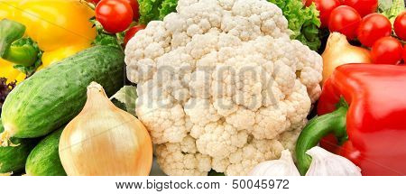 Bright Background Of Various Vegetables