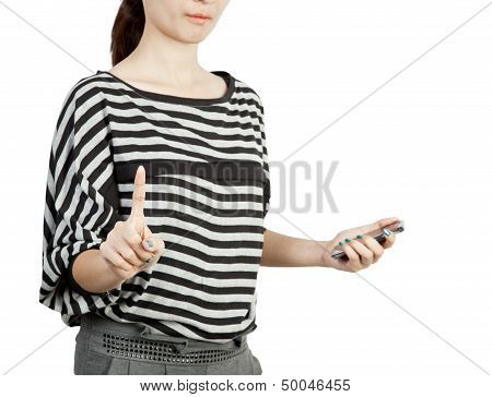 Women Touching Screen And Hold Modern Mobile