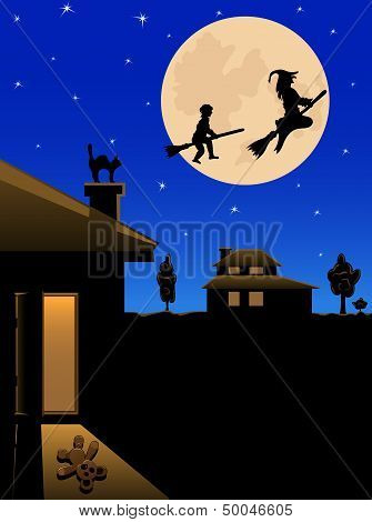 Witch and the boy fly