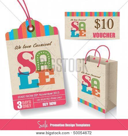 Sale Tag, Paper Bag & Voucher Design Templates