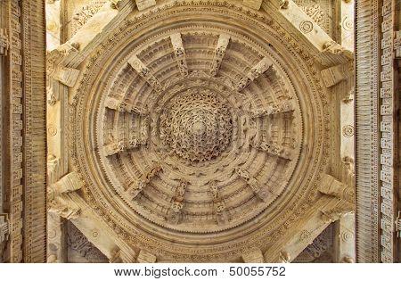 Ceiling in Ranakpur Chaumukha temple, Rajasthan
