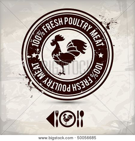 poster of alternative poultry label / stamp on textured background which is made from several transparent layers for a worn rubbed effect therefore saved in eps 10