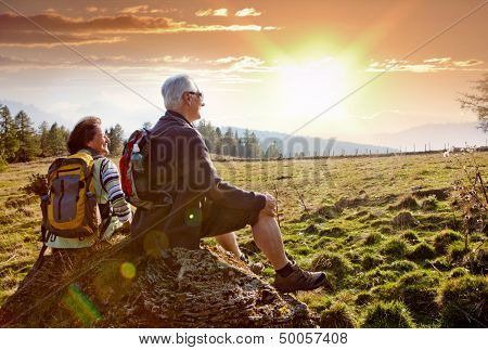 seniors hiking in nature on an autumn day poster