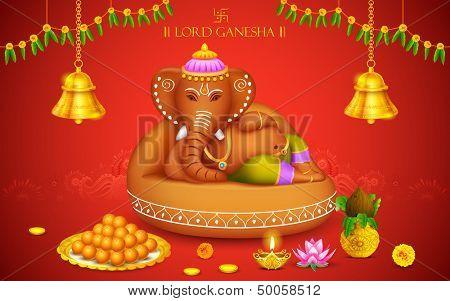 illustration of statue of Lord Ganesha made of clay Ganesh Chaturthi