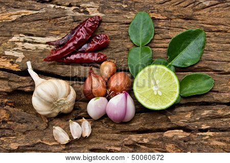 Hot And Spicy Food Ingredient For Thai Food On Wood